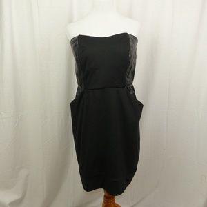 Torrid 18 Black Strapless Dress Faux Leather Sides